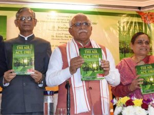 """Haryana CM releases the book """"A Commentary and Digest on The Air, Act 1981""""_50.1"""